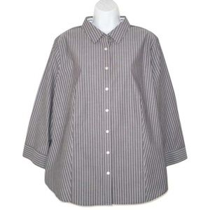 NWT Talbots 18 Wrinkle Resistant Shirt Stripe Top
